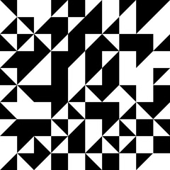 Triangle geometric shapes pattern. black and white