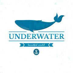 Underwater oceanarium logo, vector illustration