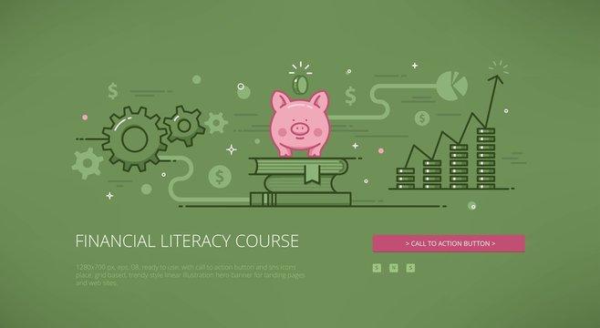 Financial literacy course linear web illustration