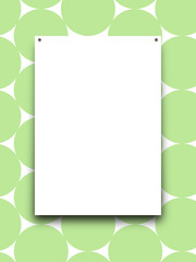 Close-up of one nailed blank frame on green circles background