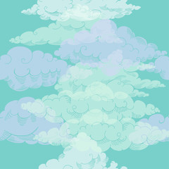 Seamless pattern with clouds sketches