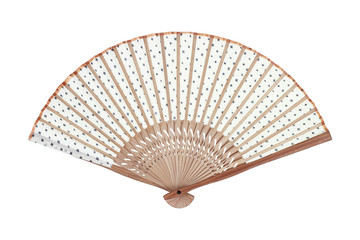 One manual hand fan isolated on white