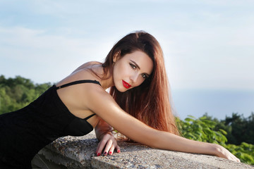 Portrait beautiful young woman with red lipstick