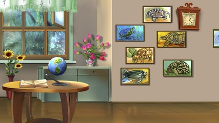 Room Interior with Turtle Pictures