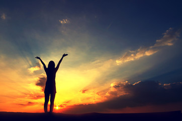 Silhouette, Free Happy Woman Relaxing Nature sky and sunset. Outdoor. Freedom concept.