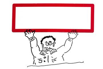 Handzeichnung von einer Werbefigur,  Comicfigur