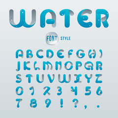 Vector latin alphabet, stylization of drop water. Font style.