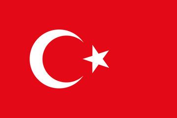 Turkey Flag, Türk bayrağı, National flag of Turkey, Turkish flag in standard proportion color mode RGB Wall mural