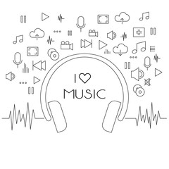 Set of music line icons with big headphone
