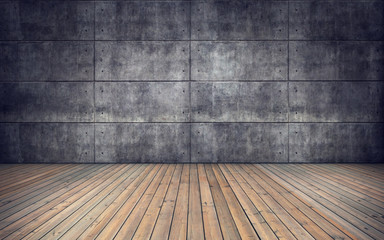 Empty room with wooden floor and concrete tiles wall