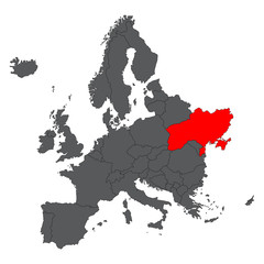 Ukraine red map on gray Europe map vector