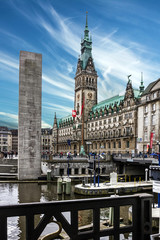 Hamburg town hall and Alster river, Germany