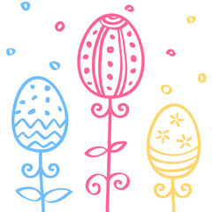 Easter eggs hand drawn doodle ornament. Horizontal seamless pattern for textile, border, frame. Vector illustration for greeting card