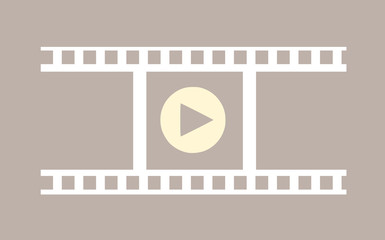 Film, video icon with film strip and player sign vector