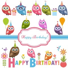 Cute owlets and owls on Birthday party