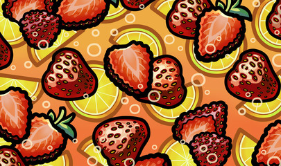Illustration of strawberry in fresh sparkling lemonade