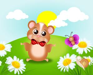 Cute hamster on field