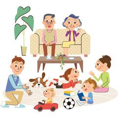 リビングと三世代家族