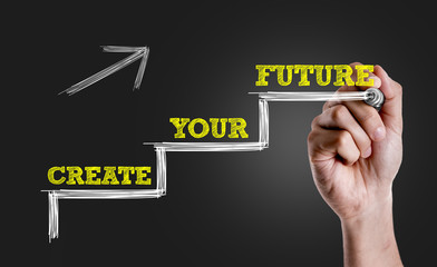 Hand writing the text: Create Your Future
