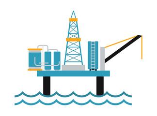 Sea oil rig offshore platform technology flat vector illustration.