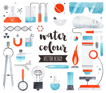 Science and Chemistry Watercolor Vector Objects