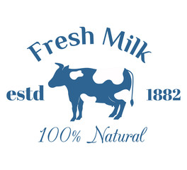 Milk cow logo badge vector template, some nature drinks label with sample text
