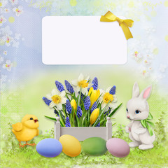 Easter congratulatory background with card for text, eggs, chicken, rabbit and flowers