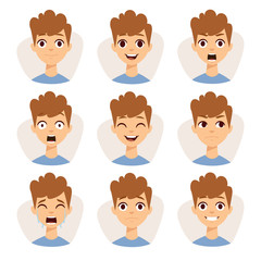 Illustration featuring boy kids showing different facial expressions emotions cartoon vector.
