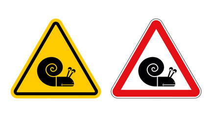 Snail warning sign of attention. Slow motion on road. Insect Haz