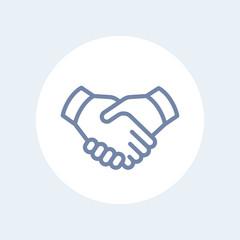 handshake line icon, cooperation, partnership, deal, handshake icon isolated on white, vector illustration