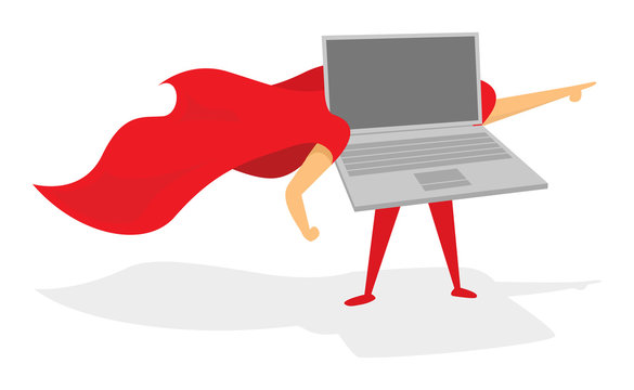Laptop or computer super hero standing with cape
