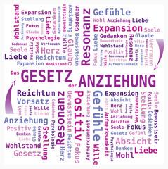 Nuage de Mots Loi de l'Attraction en Allemand - Couleurs Violet et Mauve