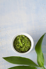 Wild garlic and Sesame seeds pesto sauce