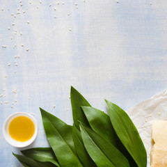 Ingredients for pesto sauce: wild garlic, sesame seeds, olive oil and parmesan cheese