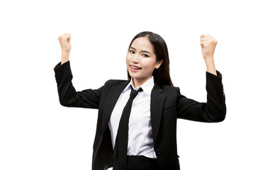 Young asian business woman, isolated on white