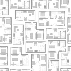 Seamless pattern with architectural projects of apartment and furniture