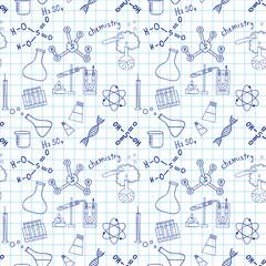 Seamless sketch of science doddle elements.