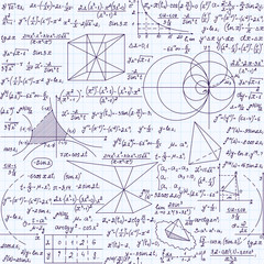 "Mathematical vector endless texture with formulas, calculations, plots, ""handwritten with blue ink on a grid copybook paper"". Mathematical educational seamless pattern"