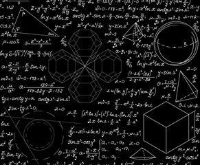 Mathematical scientific vector seamless pattern with geometrical figures, equations and formulas. Endless science texture. You can use any color of background