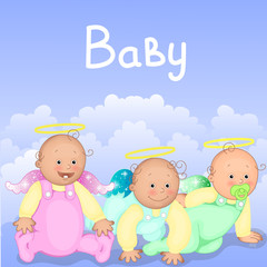 Three cute children in the clouds. Newborn babies icon. Colorful vector illustration.