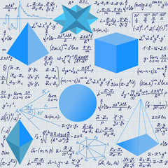 Mathematical vector seamless pattern with geometrical figures and handwritten algebra formulas and equations.Educational scientific vector endless texture
