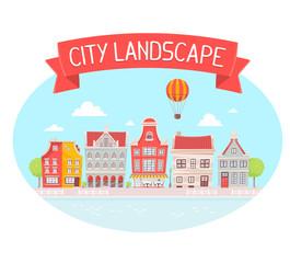 Vector illustration of city landscape on the river bank on blue