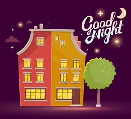 Vector illustration of night building with street lamp on dark p