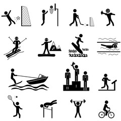 Sport life. Raster icons set with sticks isolated on white