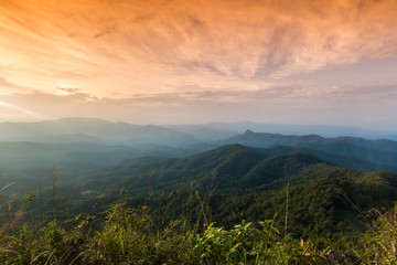 sunset at Ngo Mon Viewpoint,Mae Taeng,Chiang Mai,Thailand