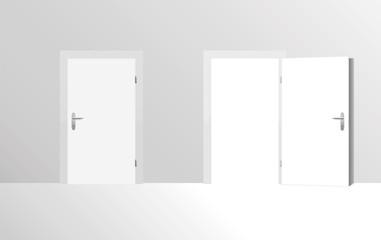 Closed door and open door. Vector illustration.