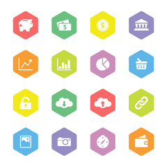 colorful flat finance and technology icon set for web design, user interface (UI), infographic and mobile application (apps)