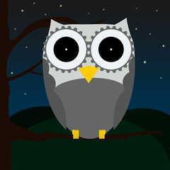 Cute owl sitting on a tree with night sky full of stars and hills as a background, shaped owl, modern,
