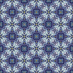 Foto op Canvas Marokkaanse Tegels Blue ornament traditional Portuguese azulejos. Oriental seamless pattern