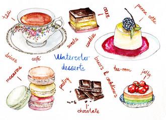 Watercolor illustration of desserts